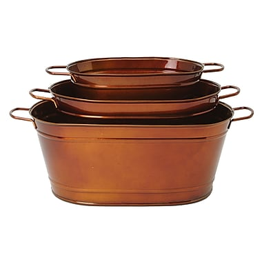 Houston International 3-Piece Metal Pot Planter Set; Glazed Caramel