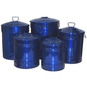 Houston International 5 Piece Galvanized Enameled Manual Lift Recycling Bin Set; Glazed Blue