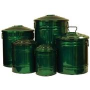 Houston International 5 Piece Galvanized Enameled Manual Lift Recycling Bin Set; Glazed Green