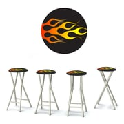 Best of Times Racing Flames 30'' Bar Stool w/ Cushion (Set of 4)