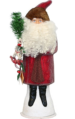 The Holiday Aisle Schaller Paper Mache Candy Container Santa Beaded w/ Red Coat WYF078281437231