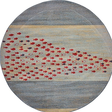 Bloomsbury Market Jan Gray/Red/Beige Area Rug; Round 6'