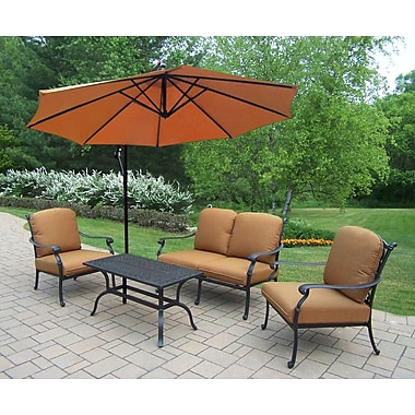 Darby Home Co Bosch Aluminum 4 Piece Deep Seating Group w/ Cushions; Sunbrella - Tan
