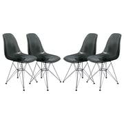 Orren Ellis Alethia Dining Side Chair (Set of 4); Transparent Black/Chrome