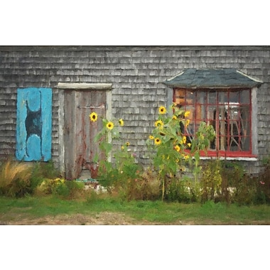 Gracie Oaks 'Barn w/ Sunflowers' Graphic Art Print on Canvas