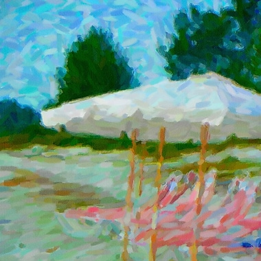 Latitude Run 'Florida Beach Chairs Impressionist' Print on Canvas