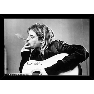 East Urban Home 'Kurt Cobain Smoking' Rectangle Wood Framed Graphic Art Print Poster