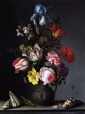 Alcott Hill 'Flowers in a vase w/ Shells and Insects' Oil Painting Print on Canvas