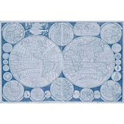 Alcott Hill '1798 New Map of the World in Indigo' Graphic Art Print on Canvas