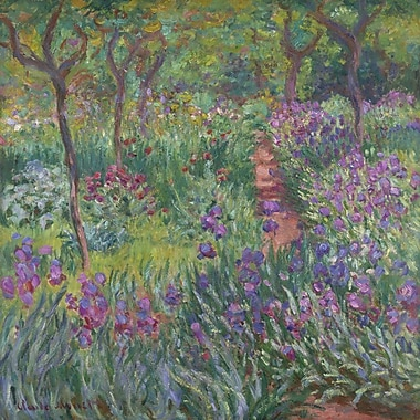 Alcott Hill 'The Artist's Garden in Giverny' by Monet Oil Painting Print on Canvas