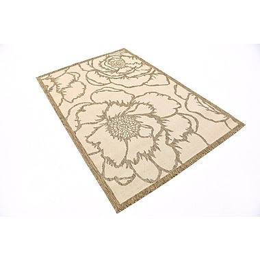August Grove Souliere Beige Outdoor Area Rug; Square 6'