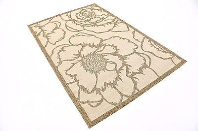 August Grove Souliere Beige Outdoor Area Rug; Round 6'