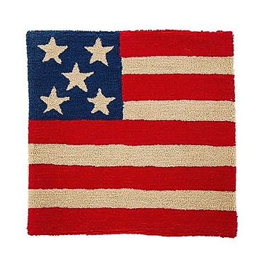 August Grove Marjorie Handmade Hooked Patriotic American Flag Outdoor Pillow Cover