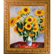 Red Barrel Studio 'Sunflowers' by Claude Monet Rectangle Framed Oil Painting Print on Canvas
