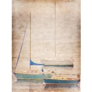 Breakwater Bay 'Aqua Sail Boats' Graphic Art Print on Canvas