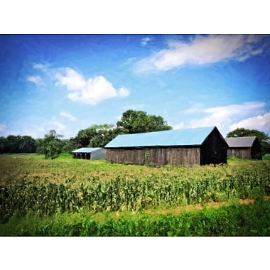 Alcott Hill 'CT River Barns in Field' Graphic Art Print on Canvas