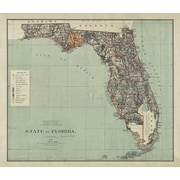 Red Barrel Studio 'State of Florida Map 1882' Graphic Art Print on Canvas
