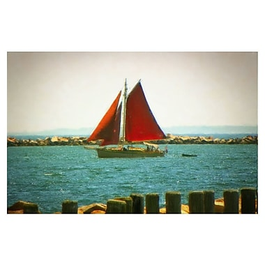Highland Dunes 'Red Sailboat' Photographic Print on Canvas
