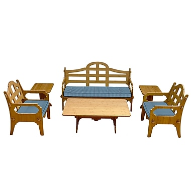 Loon Peak Burliegh Modern Striped 9 Piece Lounge Seating Group w/ Cushions; Blue/White