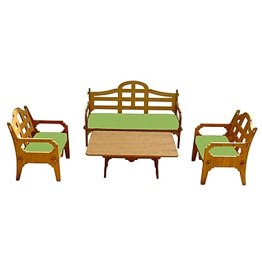 Loon Peak Burliegh Solid 9 Piece Wood Lounge Seating Group w/ Cushions; Ginko Green