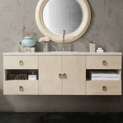 Ivy Bronx Hobbs 60'' Single Vanilla Oak Bathroom Vanity Set