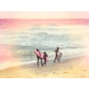 Highland Dunes 'Pink Haze Surfer Girls' Graphic Art Print on Canvas