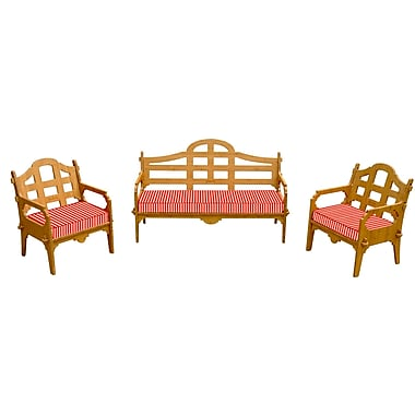 Loon Peak Burliegh Striped 6 Piece Lounge Seating Group w/ Cushions; Red/White