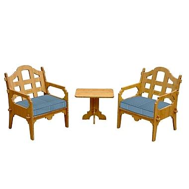 Loon Peak Burliegh Striped 5 Piece Lounge Seating Group w/ Cushions; Blue/White