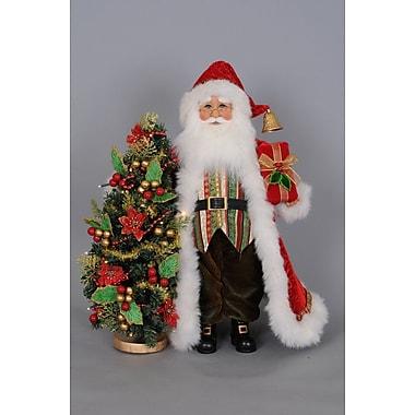 Karen Didion Christmas Santa Figurine w/ Lighted Tree