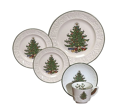 The Holiday Aisle Original Christmas Tree Dickens Embossed 20 Piece Place Setting Set (Set of 20) WYF078281436727