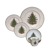 The Holiday Aisle Original Christmas Tree Dickens Embossed 20 Piece Place Setting Set (Set of 20)