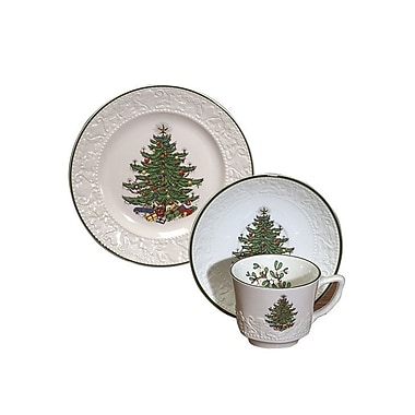 The Holiday Aisle Original Christmas Tree Dickens Embossed Coffee and Dessert Set (Set of 3)