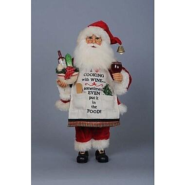 Karen Didion Christmas Cooking w/ Wine Santa Figurine