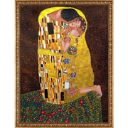 'The Kiss Full View Metallic Embellished' by Gustav Klimt Framed Oil Painting Print on Canvas