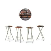 Best of Times London Brick 30'' Bar Stool w/ Cushion (Set of 4)
