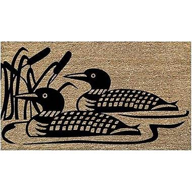 Premier Gift – Tapis d'extérieur en fibre de coco naturelle, endos en vinyle (PVC), motif de huards, 16 po x 27 po