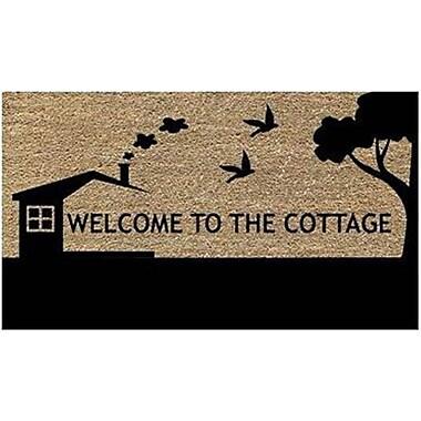 Premier Gift – Tapis d'extérieur en fibre de coco naturelle, endos vinyle (PVC), Welcome to the Cottage, 16 po x 27 po GA16898