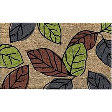Premier Gift – Tapis d'extérieur en fibre de coco naturelle, endos vinyle (PVC), motif de feuilles, 16 po x 27 po (GA16901)