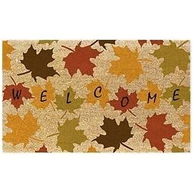 Premier Gift – Tapis d'extérieur en fibre de coco naturelle, endos en vinyle (PVC), feuilles d'automne, Welcome, 16 po x 27 po