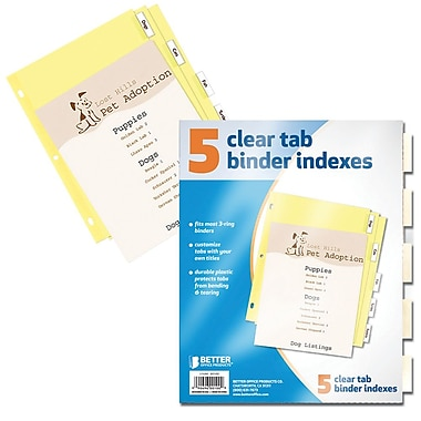 Better Office Products 5-tab Paper Binder Index Dividers W/clear Tabs (00100)