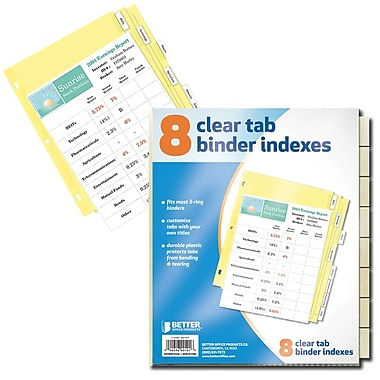 Better Office Products 8-tab Paper Binder Index Dividers W/clear Tabs (00101)