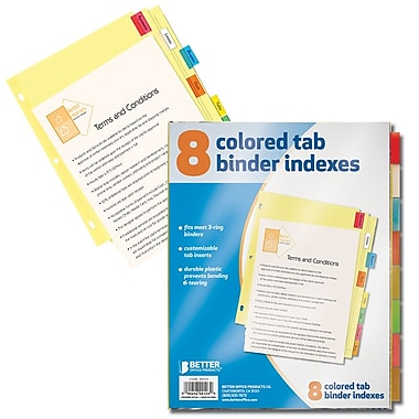 Better Office Products 8-tab Paper Binder Index Dividers W/Colored Tabs (00103)