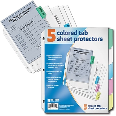 Better Office Products 5-tab Paper Binder Index Dividers (00110)