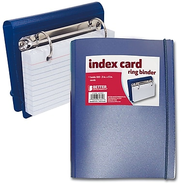 Better Office Products Index Card 2 Ring Mini Binder W/100 3x5 Index Cards / 1