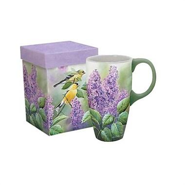 Lang (10995036196) 18 Oz Ceramic Goldfinches & Lilacs Latte Mug