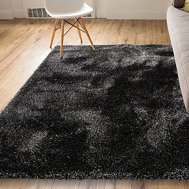 Orren Ellis India Modern Solid Country Black Area Rug; 5'3'' x 7'3''