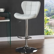 Orren Ellis Lexie Adjustable Faux Leather Stool (set of 2); Light Gray