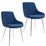 Ivy Bronx Cortes Velvet Upholstered Dining Chair (Set of 2); Blue