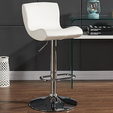 Orren Ellis Priscilla Adjustable Height Faux Leather Stool (Set of 2); White