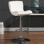 Orren Ellis Priscilla Adjustable Height Faux Leather Stool (Set of 2); White